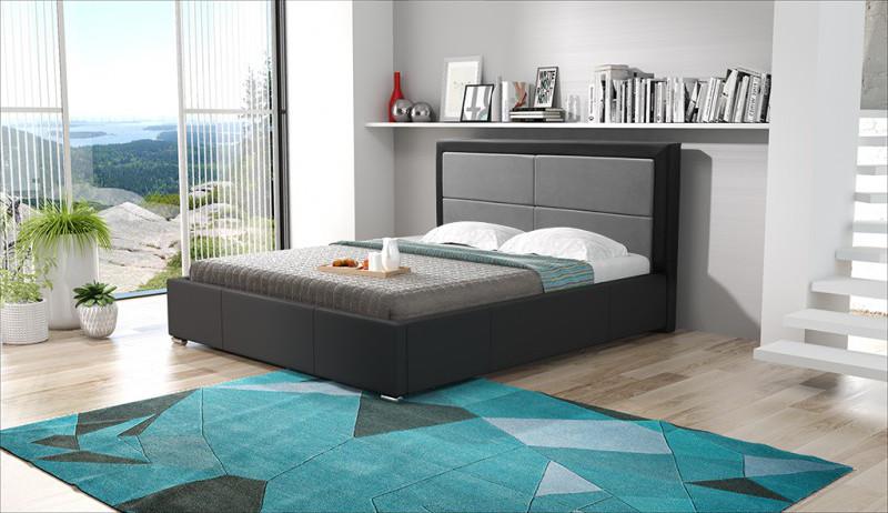Duże łóżko z nowoczesnym zagłówkiem do sypialni MebleHot.pl