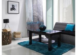 Nowoczesne ławy do salonu z półką czarny połysk T27