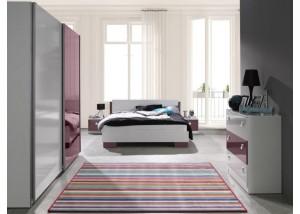 Nowoczesne meble do sypialni biały, fioletowy połysk Lux 2