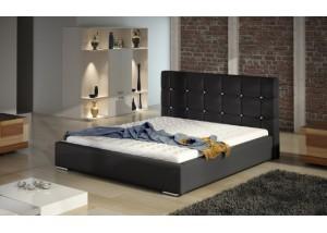 Czarne łóżko tapicerowane z zagłówkiem TESSA CRYSTAL