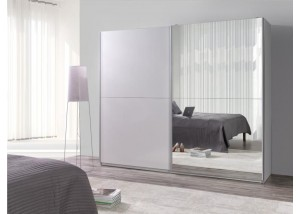 Nowoczesna szafa przesuwna biały, lustra Lux 28