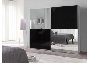 Nowoczesna szafa przesuwna czarny połysk, lustra Lux 26