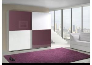 Nowoczesna szafa przesuwna fioletowy połysk, biały połysk Lux 10