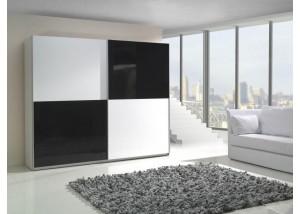 Nowoczesna szafa przesuwna biały połysk, czarny połysk Lux 4