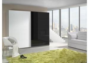 Nowoczesna szafa przesuwna biały, czarny połysk Lux 2
