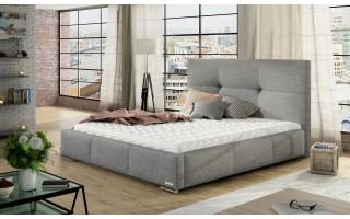 Łóżko tapicerowane do sypialni Lily z pikowanym zagłówkiem