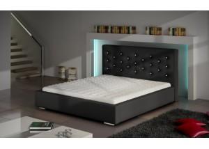 Łóżko tapicerowane pikowane z kryształkami Savana Crystal