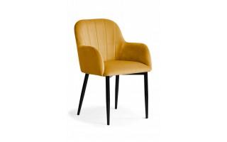Krzesło tapicerowane TULIP metalowe nogi czarne