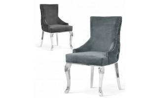 Krzesło EDWARD GLAMOUR SILVER metalowe nogi