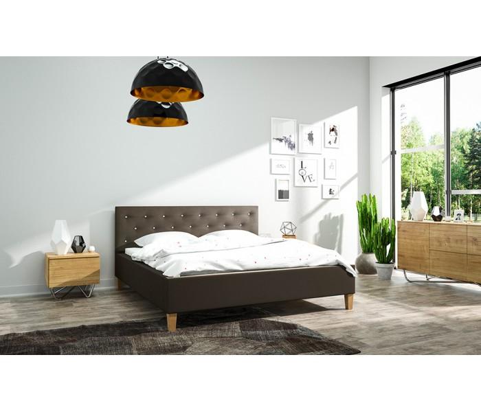 Łóżko tapicerowane do sypialni Szymon ze stelażem
