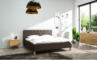 Łóżko tapicerowane do sypialni Szymon ze stelażem i materacem z kokosem Flamenco
