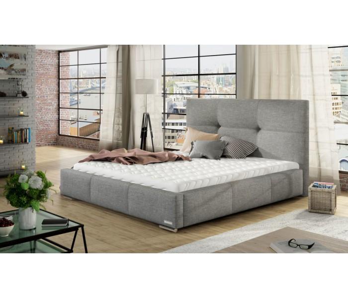 łóżko Tapicerowane Do Sypialni Lily Z Pikowanym Zagłówkiem 160x200