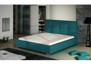 Łóżko z wezgłowiem pikowane w krate z guzikami MARIO