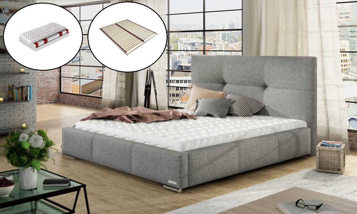 łóżko Tapicerowane Do Sypialni Lily Stelaż Materac