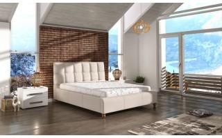 Łóżko tapicerowane do sypialni Aston z pikowanym zagłówkiem